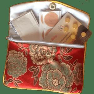 Set tascabile con 10 magneti dorati, Set de poche avec 10 aimants dorés